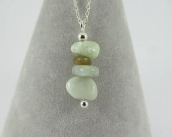 Jadeite and 925 Sterling Silver Necklace
