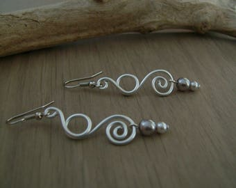"""Original """"grey/Silver//Aluminium"""" Silver earrings (p dress of) wedding/bridal/party/ceremony style (cheap) cultured pearl"""