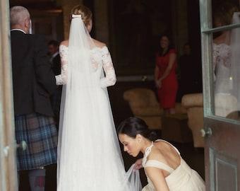 Soft English Tulle Veil, Ivory English Net Veil, english net veil,soft wedding tulle veil, chapel veil, Soft Bridal simple wedding veil