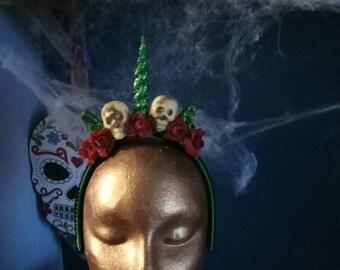 Halloween Zombie Unicorn glitter headdress