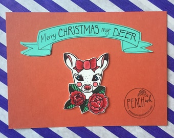 """Pin Badge """"Merry Christmas my Deer""""  • Made to order hand drawn and handmade • unique and individual christmas gift"""