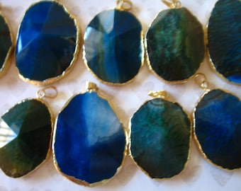 Shop Sale.. 1 5 10 pcs, Drusy Druzy Agate Pendant, 40-50 mm, 1.5-2 in, Gold Edged, Blue or Green, druzzy drussy agate ap50.4 ap41.13