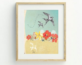 Flying Swallows Art Print - Original Artwork, Bird Illustration, Hand Drawn Bird Art, Bohemian, Wall Art, Boho Chic, Flower Art Print