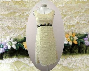 60s Ivory Yellow White Nylon Lace  Shift Dress Small