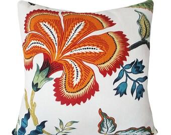 Schumacher Hothouse Flowers Spark Decorative Pillow Cover - Celerie Kemble - Solid Linen Back - 12x20, 14x18, 14x24, 18x18, 20x20, 22x22