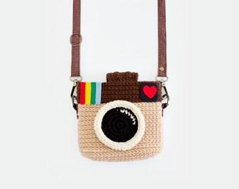 Crochet Case for Fuji Instax Camera - Instagram (Light Brown Color)