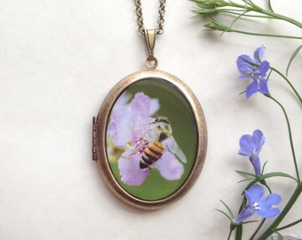 Pollinator Locket - Bee Pollinating Purple Flower Photo Necklace