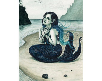Adrift ACEO Print Gothic MERMAID Artist Trading Cards ATC Fantasy Art beach shore Teal blue green Sea Swept Series