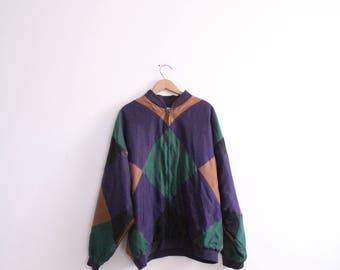 Colorblocked Diamond Silk Windbreaker Jacket