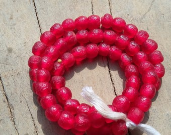 African recycled glass beads, tiny, (7 x 7 mm), strand 16 inches (41 cm.), 62-65 beads, cherry red