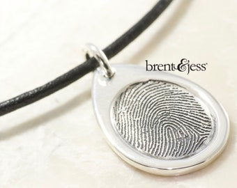 Custom Fingerprint Pendant - Sterling Silver Custom Thumbprint or Fingertip Print Oval Pendant/Charm