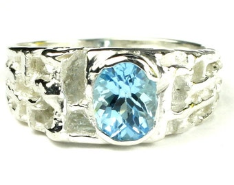 Swiss Blue Topaz, 925 Sterling Silver Men's Ring, SR197
