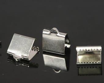 ribbon crimp ends, 6x9 mm nickel plated ribbon crimp end, ribbon crimp ends cap, with loop findings N232