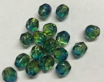 Sale-20 pieces of gradient-glass-cut beads-in blue-yellow-6mm