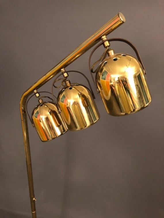 Hollywood regency Gold Brass Floor Lamp with 3 spheres