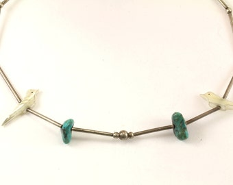 Vintage Turquoise Stones & Birds Necklace 925 Sterling NC 1014