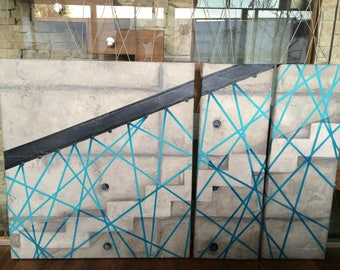 Large abstract painting, grey painting, turquoise, staircase painting, stairs, concrete painting, concrete wall, wire, texture, modern art