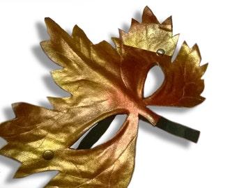 leaf mask in leather Vertumnus autumn golden shimmering masquerade carnival mardi gras halloween larp renaissance wiccan faery elf elves