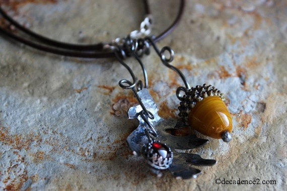 Handmade Glass Acorn, Sterling Oak Leaf, Garnet or Amber Gemstone Autumn Necklace, Fall Fashion under 200