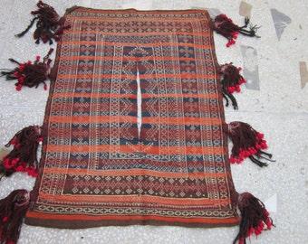 Antique Afghan Tribal Nomadic Sumak Camel Blanket