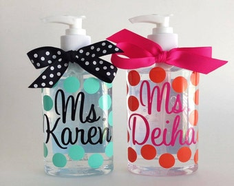 SET OF 2 personalized polka dot hand sanitizer  8 oz. wedding gift teacher shower GIFT