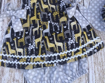 Baby Girl Dress - Baby Girl Birthday Dress - Baby Girl Giraffe Dress - Baby Girl Spring and Summer Dress