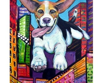"Beagle Dog Art Print of Original Painting by Dottie Dracos ""Beagle Flying through City"""