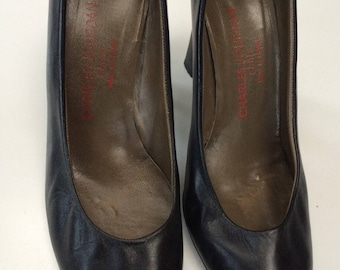 Charles Jourdan black pumps classic French high heel pointy leather peek a boo pumps size 7.5
