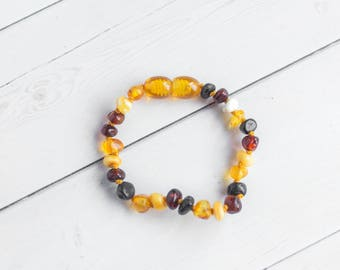 Baby Amber Anklet - Polished Baltic Amber - Teething Jewelry - Amber Bracelet - Baltic Amber Necklace - Baby Necklace -Teething Bracelet