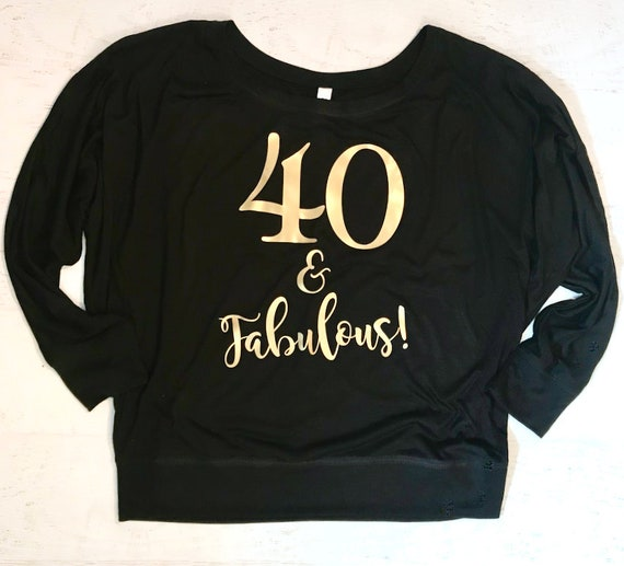 40 and Fabulous Metallic Gold Flowy off the Shoulder Long Sleeve T-Shirt