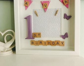 Personalised birthday scrabble frames