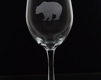 Bear Stemmed Wine Glass - Etched Wine Glass - Bear Wine Glass - Engraved Wine Glass - Custom Design - Mother's Day Gift - Personalized Gift