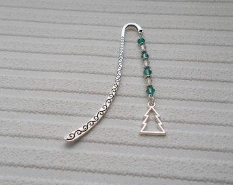 christmas tree bookmark beaded bookmark christmas gift silver bookmark gift for book lover accessory for her page holder gift for reader