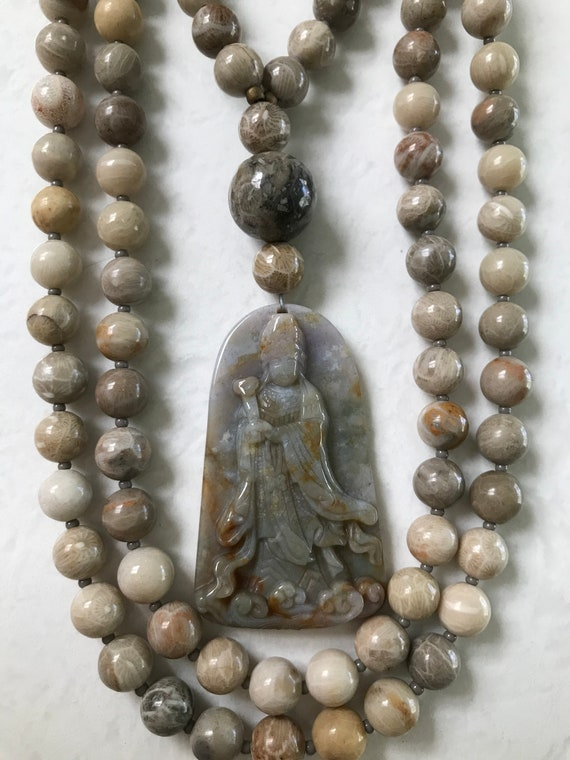 Fossil Coral and Indian Bloodstone Mala/Prayer Beads
