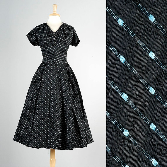 Skirt Dress Cocktail Tea Short 50s 50s XL Taffeta Vintage Size Dress Full Sleeve Dress Black 1950s Plus Party Dress ZawPq6B
