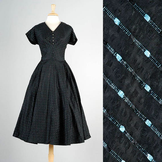 Size Tea Dress Plus Dress XL 1950s Dress Dress Cocktail Taffeta Short Sleeve Full Skirt Vintage 50s Black Party 50s qpZwfx75w