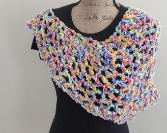 Fluffy Tutti-fruiti Crochet Lace Asymmetrical Poncho
