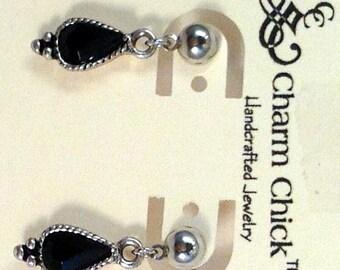 Black & Silver Dangle Earrings