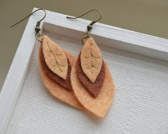Felt Leaf Drop Earrings