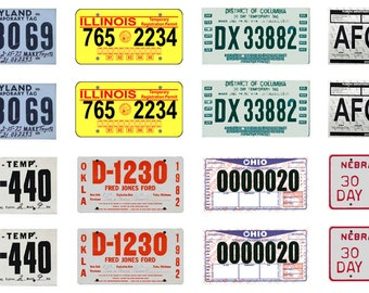 scale model 30 day temporary car license tag plates