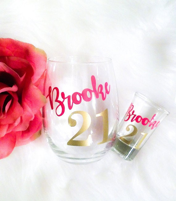 Set Of 2 Personalized 21st Birthday Gift For Her