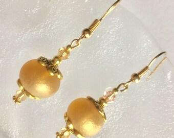 Handspun, spun gold handcrafted bead Lampwork, Swarovski peach glass earrings