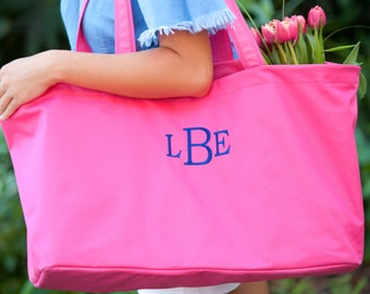 Hot Pink Monogram Ultimate Tote, Large Personalized Bag
