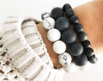 Set of 3 - White Marble Howlite + Charcoal Mineral Beaded Bracelet Stack | Beaded Bracelets | Jewelry Gift Set | Louis and Finn