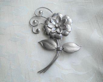 Large Vintage Sterling Silver Flower Brooch