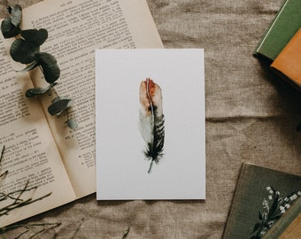 Brown Feather Watercolor Print