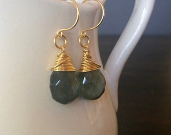 Moss Aquamarine Faceted Briolette With 24 kt Gold Vermeil Wire Wrap and Ear Wire. Dangle Teardrop Earrings