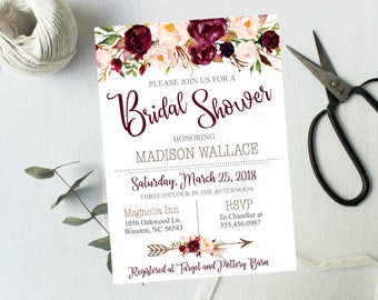 Bridal Shower Invitations Burgundy Blush Pink Floral Watercolor Spring Summer Wedding Boho Digital or Printed Rustic Wedding #3014