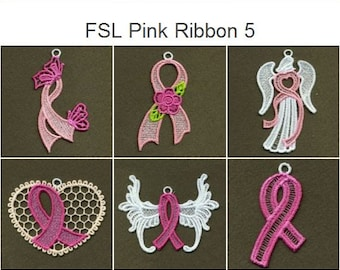 FSL Pink Ribbon Ornament Free Standing Lace Machine Embroidery Designs Instant Download 4x4 hoop 10 designs APE1820