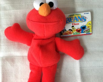 "Sesame Street Bean, Elmo, stuffed doll, by TYCO, vintage 1997, new with tag, 8"" tall, good condition"